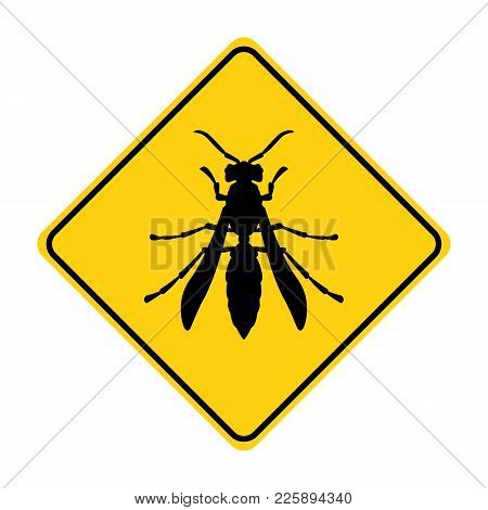 Wasp Silhouette Animal Traffic Sign Yellow  Vector Illustration
