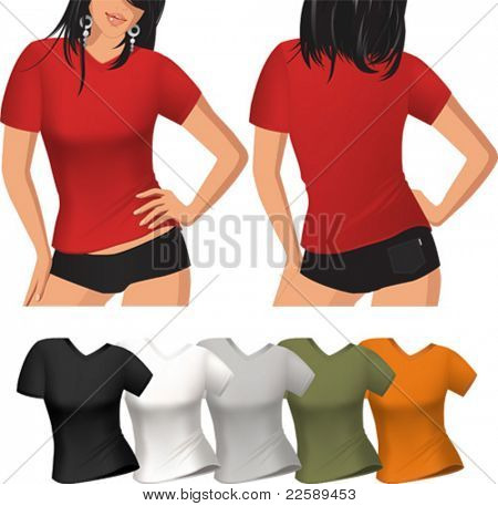 Woman's t-shirt. All elements and textures are individual objects. Vector illustration scale to any size.