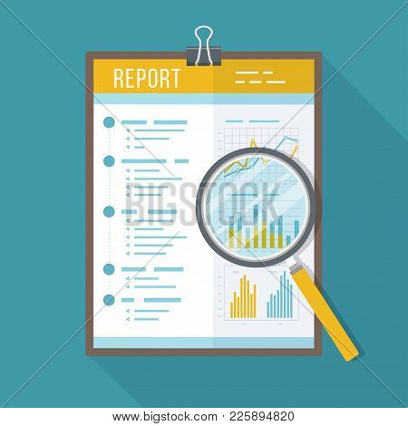 Business Report, Paper Document With Magnifying Glass.  Isolated Icon With Long Shadow. Charts Graph