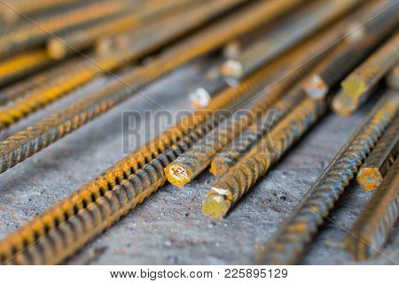 Stack Of Construction Steel Rod Armature. Selective Focus,