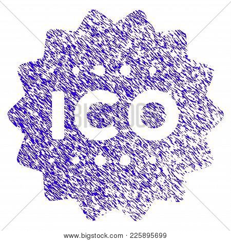 Grunge Ico Token Rubber Seal Stamp Watermark. Icon Symbol With Grunge Design And Unclean Texture. Un