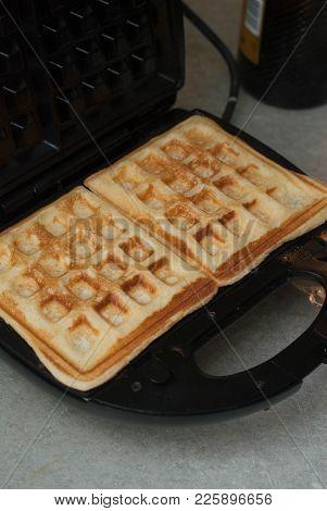 Homemade Belgian Waffle In A Waffle Maker.