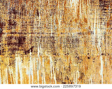 Creative Background Of Rusty Metal, Painted Gray Paint Carelessly With The Remnants Of Torn Paper. G