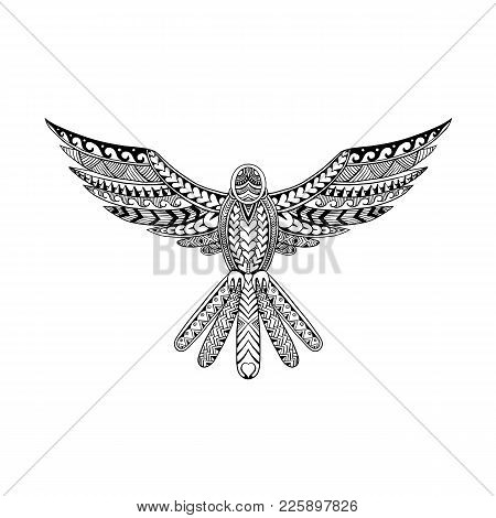 Tribal Tattoo Style Illustration Of A Dove Flying Hovering With Wings Spread Viewed From Front On Is