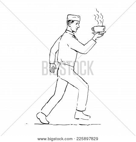 Drawing Sketch Style Illustration Of A Retro Styled Waiter Running And Serving A Hot Cup Of Coffee V