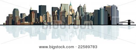 Panorama of the big city. Urban background. All elements and textures are individual objects. Vector illustration scale to any size.