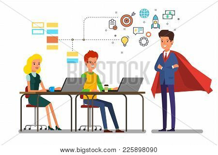 Business Meeting Concept. Business Man In A Cloak Of Super Man Speaks Before His Colleagues. Flat De