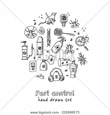 Hand Drawn Doodle Pest Control Set. Vector Illustration. Isolated Elements On White Background. Symb