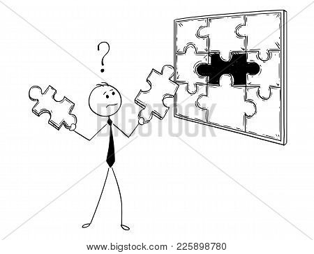 Cartoon Stick Man Drawing Conceptual Illustration Of Businessman With Two Jigsaw Puzzle Pieces In Ha