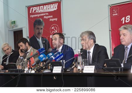 Nizhny Novgorod, Russia February 9, 2018: Pre-election Press Conference Of Presidential Candidate Pa