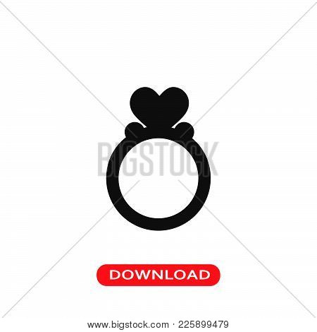 Ring With A Heart Icon Vector In Modern Flat Style For Web, Graphic And Mobile Design. Ring With A H