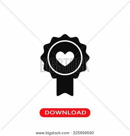 Badge Heart Icon Vector In Modern Flat Style For Web, Graphic And Mobile Design. Badge Heart Icon Ve