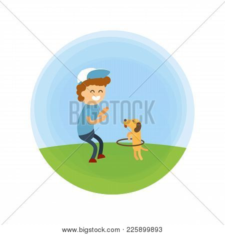 Little Boy And Puppy Walking At Park Vector Illustration. Training A Small Dog Turns The Hoop Like A