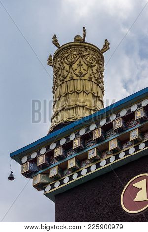 Coorg, India - October 29, 2013:golden Turret As Decoration On Cormer Of Roof At Padmasambhava Vihar