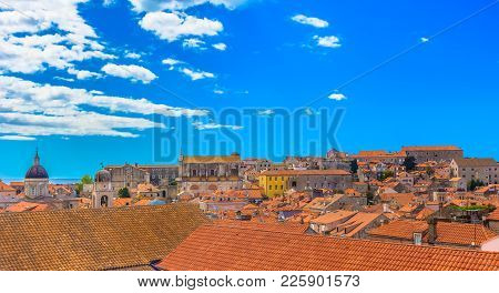 Panorama Of Colorful Scenery In Southern Europe, Dubrovnik Old Town Cityscape.