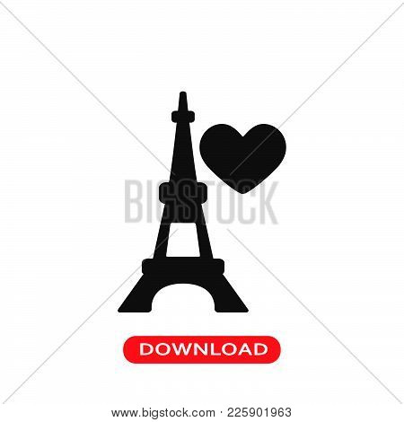 Eiffel Tower With Heart Icon Vector In Modern Flat Style For Web, Graphic And Mobile Design. Eiffel