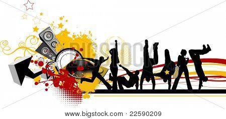 Everyone dancing and having fun. Dancing people. Raster version of vector illustration.