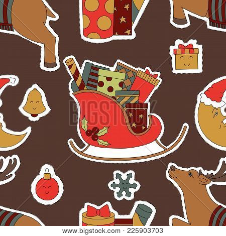 Doodle Stickers For Christmas Vector Illustration. The Gifts In The Sleigh, The Reindeer, And The Mo