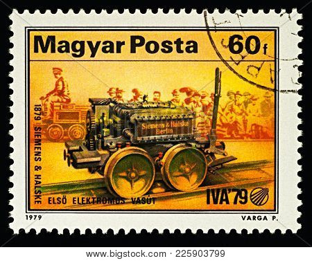 Siemens' First Electric Locomotive (1879) On Postage Stamp