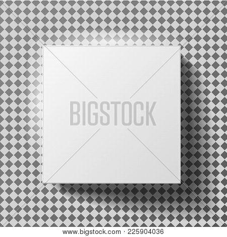 White Box Mock Up Model 3d Top View With Shadow. Vector Isolated Blank Cardboard Open Or White Paper