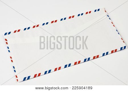 Striped Post Envelope. Postal Blank Envelope With Striped Frame. Simple Blank White Envelope Isolate