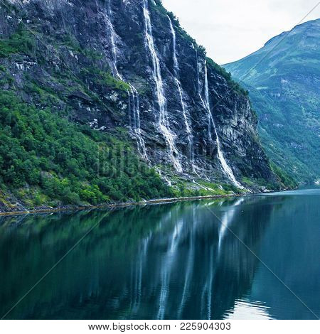 Waterfolls - Seven Sisters And Bridegroom - In Geiranger Fjord.