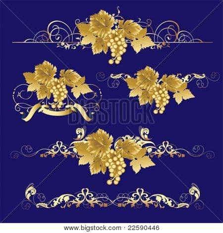Golden Grapes.  All elements and textures are individual objects. Vector illustration scale to any size.