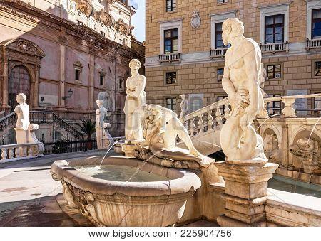 Palermo, Italy - May 3, 2017: Palermo Sculptural Fontain Pretoria, Sicily, Italy.