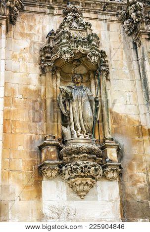 Sculpture Of Bishop, Church Of Alcobaca Medieval Roman Catholic Monastery.