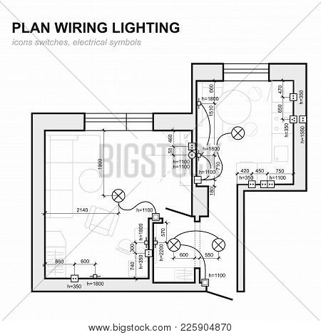 Plan Wiring Lighting. Electrical Schematic Interior. Set Of Standard Icons Switches, Electrical Symb