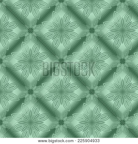 Green Metallic Regular Seamless Pattern.  Metal Foil With Pattern. Glossy Metal Surface. Shiny Metal