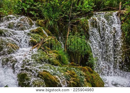 Croatia Lakes Landscape. Waterfalls Of Plitvice Lakes National Park