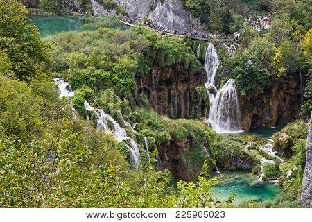 Croatia Waterfall Of Plitvice Lake, Natural Travel Background, National Park