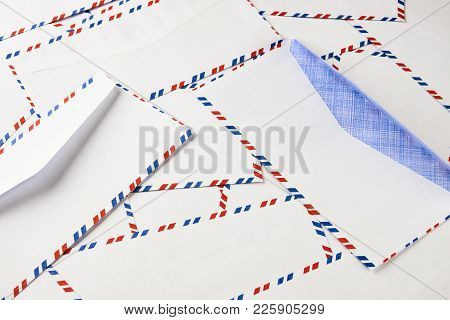 Simple Blank White Envelopes With Clipping Path. Striped Post Envelope. Postal Blank Envelope With S