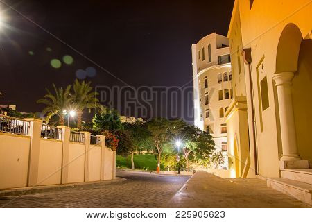 Akaba, Jordan - December 23, 2017: Building On The Street In A Good Night In Jordan In Tala Bay Not
