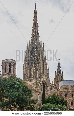 Barcelona Gothic Cathedral, Spain, Church La Seu, Catalonia, Gothic Quarter.