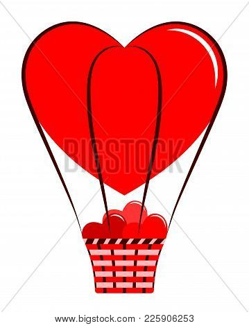 Vector Heart Balloon With Basket Of Hearts Isolated On White Background