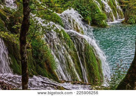 Waterfalls In Croatia, Plitvice Lake, Natural Travel Background, National Park