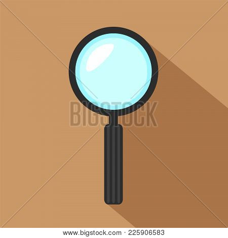 Magnifier Icon, Hand Magnifying Glass Color Vector Illustration In Simple Flat Design, Search Concep