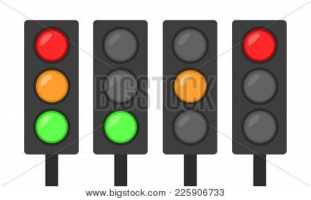 Set Of Traffic Lights Icon Red Green And Orange Simple Flat Design Go Stand Sign Concept Vector Illu