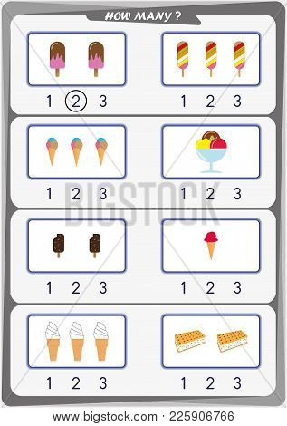 Worksheet For Preschool Children, Count The Number Of Objects, Learn The Numbers 1, 2, 3