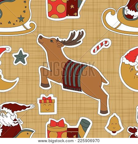 Cartoon Beige Cloth For Christmas. Santa Claus, Gifts And Reindeer Vector Illustration. Seamless Pat