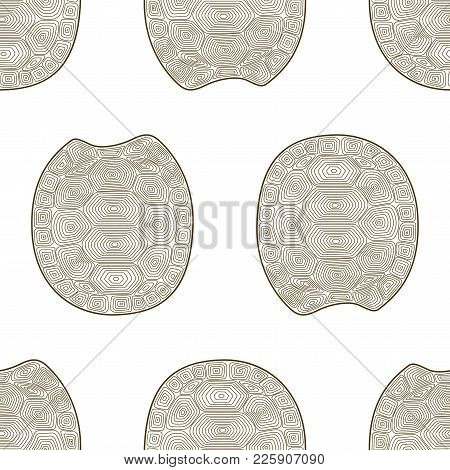 Carapace Turtle Zen Tangle Seamless Pattern Background. Coloring Book For Adult Wildlife Animal. Wal