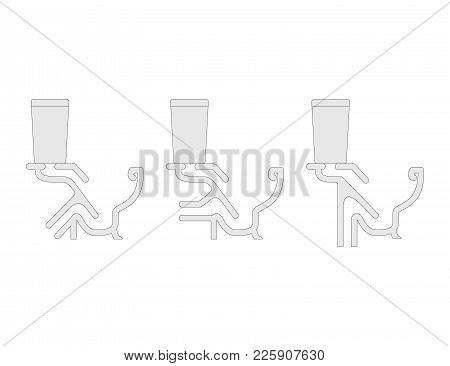Toilet Cutaway Blueprint Vector Illustration. Set Of Different Types.