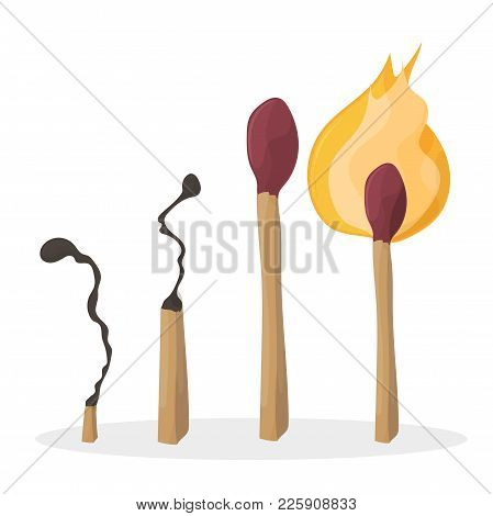 A Set Of Cartoon Matches. Burned Match. Burning Match. Vector
