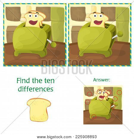 Find Differences Between The Two Images - Kitchen And Toaster Cartoon