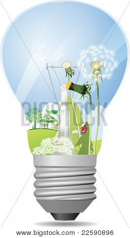 Green light bulb. Raster version of vector illustration.