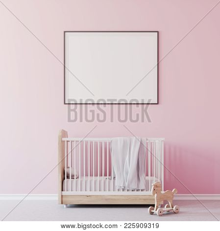 Nursery Interior With Pink Walls, A Concrete Floor, A Cradle With A Framed Poster Above It . A Toy O