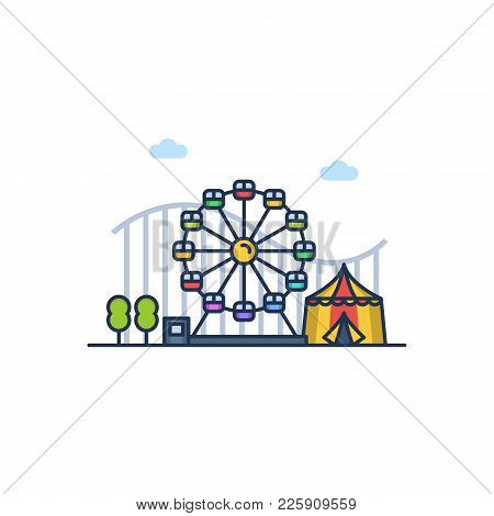 Amusement Park Colorful Illustration On The White Background. Vector Illustration In Flat Filled Lin