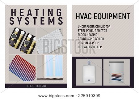 Central Heating System. Trench Convector, Pump Unit, Boiler, Steel Panel Radiator, Floor Heating. De